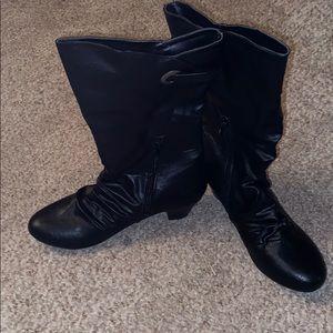 Black calf high boots